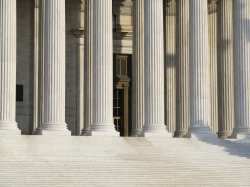 Stately columns at the historic Supreme Court building in Washington DC.